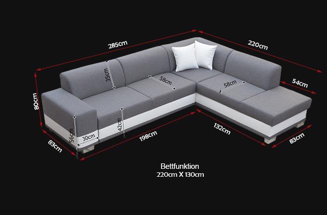 Couch u form maße  Sofas Ledersofa DARCO mit Bettfunktion Bettkasten Ecksofa ...