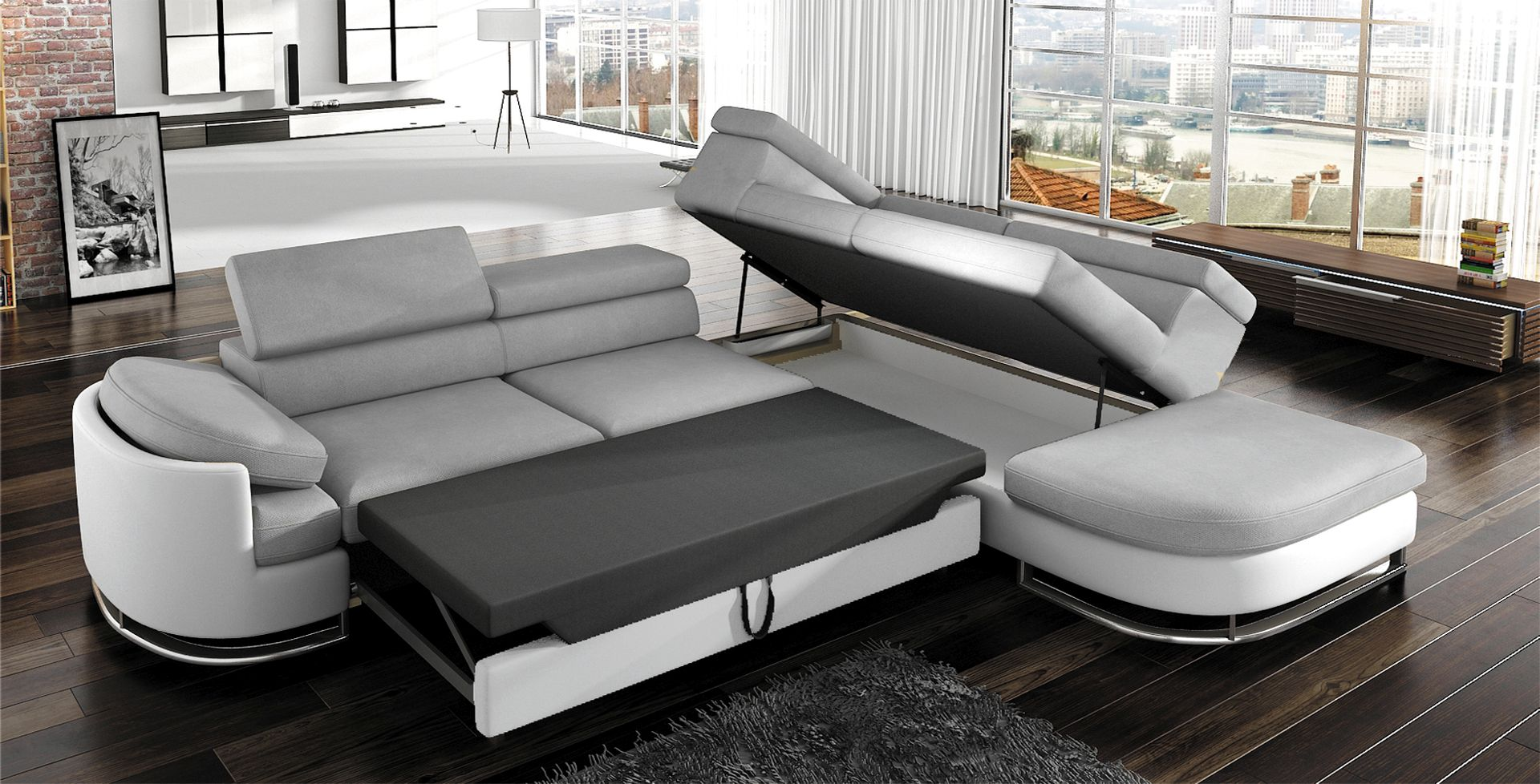 sofa schlafsofa designer sofa mit bettfunktion bettkasten ecksofa couch neu ebay. Black Bedroom Furniture Sets. Home Design Ideas