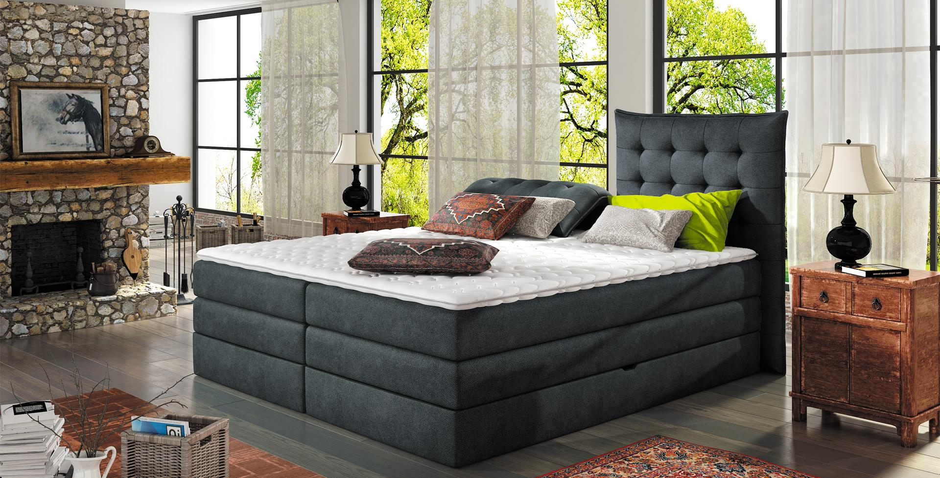boxspringbett design bett topper federkern doppelbett polsterbett mit bettkasten aura www. Black Bedroom Furniture Sets. Home Design Ideas