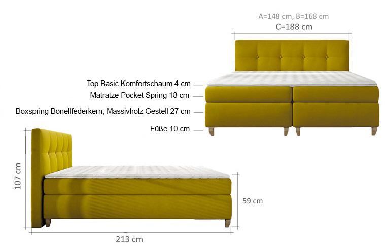 boxspringbett design bett topper federkern doppelbett polsterbett ebay. Black Bedroom Furniture Sets. Home Design Ideas
