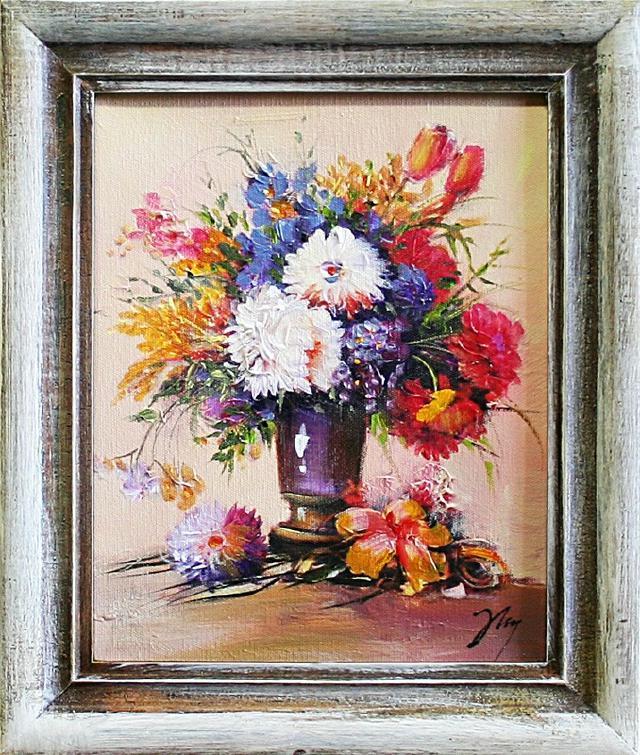 blumenstrau blumen vase gem lde lgem lde bilder bild lbild mit rahmen g04275 ebay. Black Bedroom Furniture Sets. Home Design Ideas