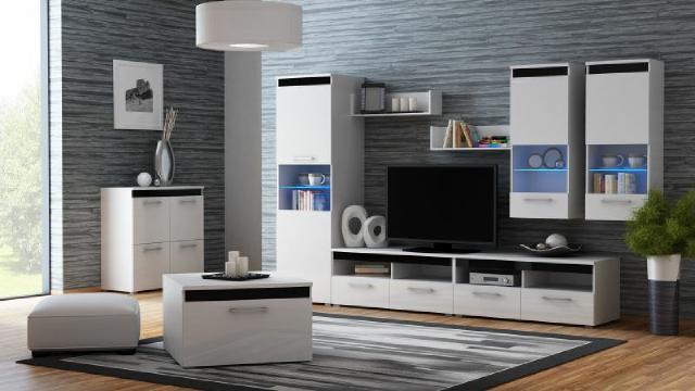 Komplettes set wohnzimmer hochglanz wohnwand sideboard for Wohnwand 200 euro
