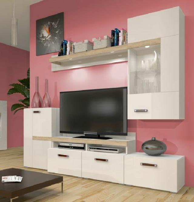 zebra wohnzimmer: Wohnwände Anbauwand mit Kommode Vitrine Wohnzimmer Schrank ZEBRA D
