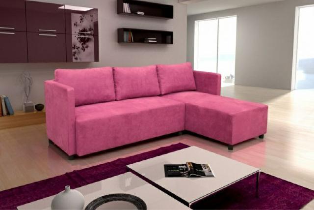 Ecksofa eck stoff textil polster sofa couch rosa polster for Ecksofa textil