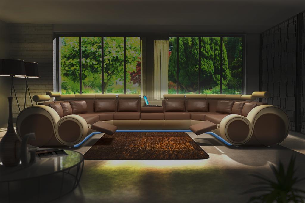ledersofa polster sofa couch ecksofa wohnlandschaft riesen xxl farbwahl ebay. Black Bedroom Furniture Sets. Home Design Ideas