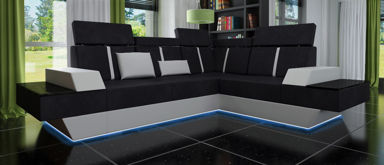 sofas und ledersofas le mans ii bettfunktion designersofa ecksofa jv m bel. Black Bedroom Furniture Sets. Home Design Ideas