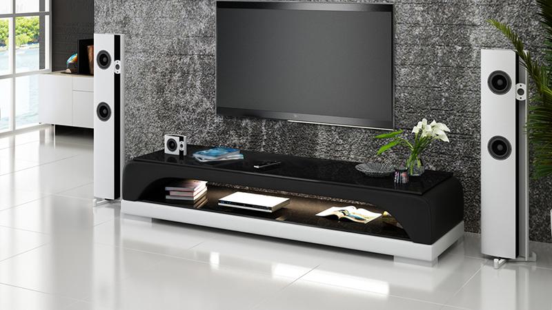 Rtv tv sideboard leder glas tisch fernseh schrank tisch for Meuble tv hamburg 03b