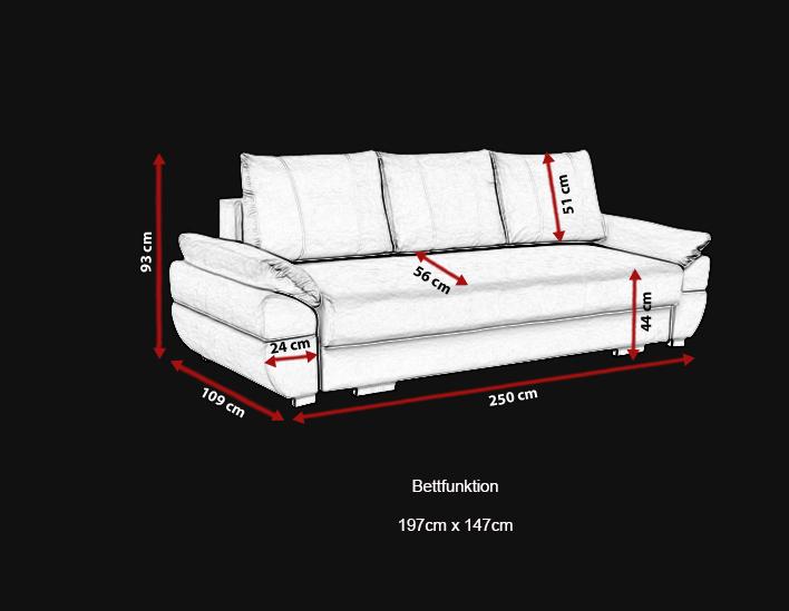 3 sitzer sofa schlaffsofa benita bettfunktion und bettkasten schlaffunktion. Black Bedroom Furniture Sets. Home Design Ideas
