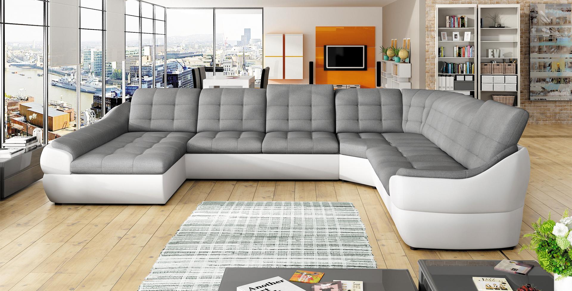 sofa schlafsofa wohnlandschaft mit bettfunktion bettkasten ecksofa u couch neu infinity xl. Black Bedroom Furniture Sets. Home Design Ideas