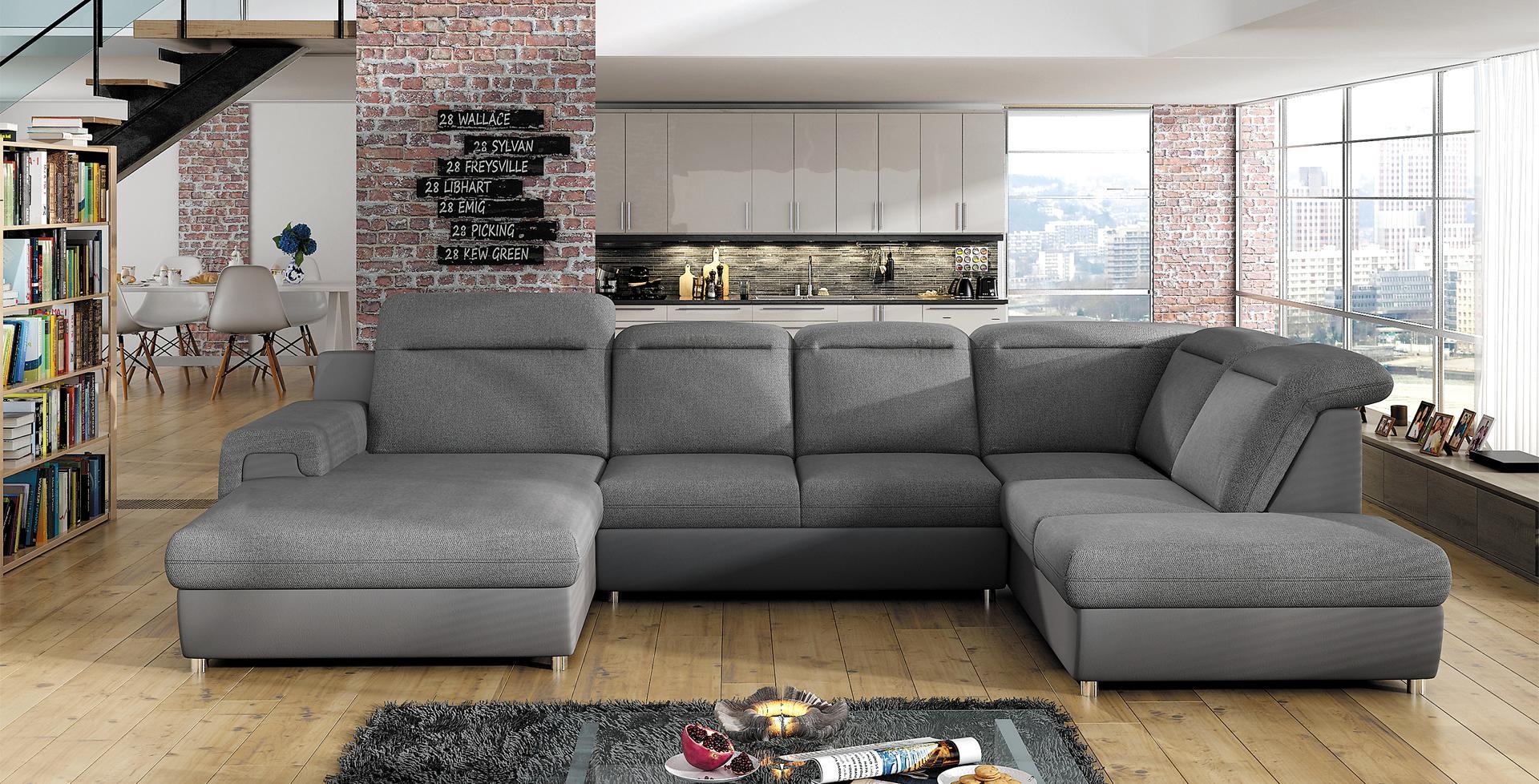 sofa schlafsofa wohnlandschaft mit bettfunktion bettkasten ecksofa u couch neu panama xl www. Black Bedroom Furniture Sets. Home Design Ideas