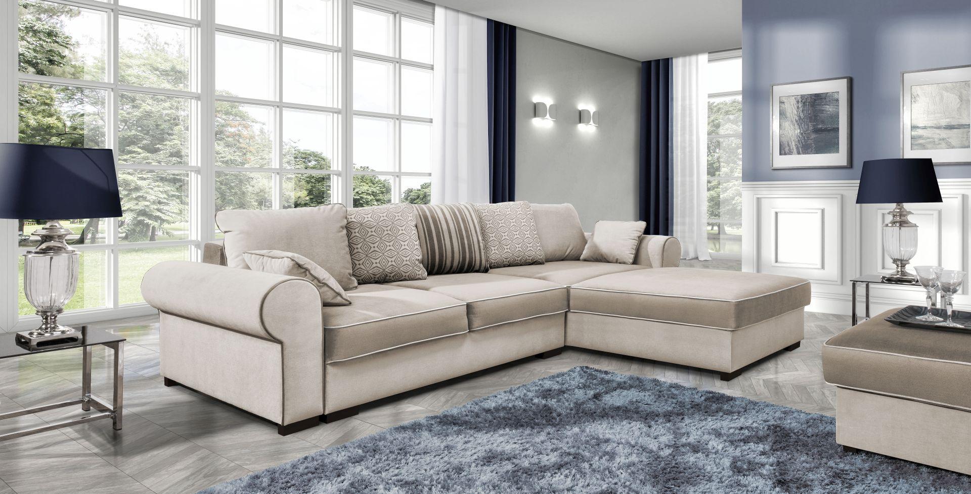 sofa schlafsofa designer sofa mit bettfunktion bettkasten ecksofa couch neu deluxe corner. Black Bedroom Furniture Sets. Home Design Ideas