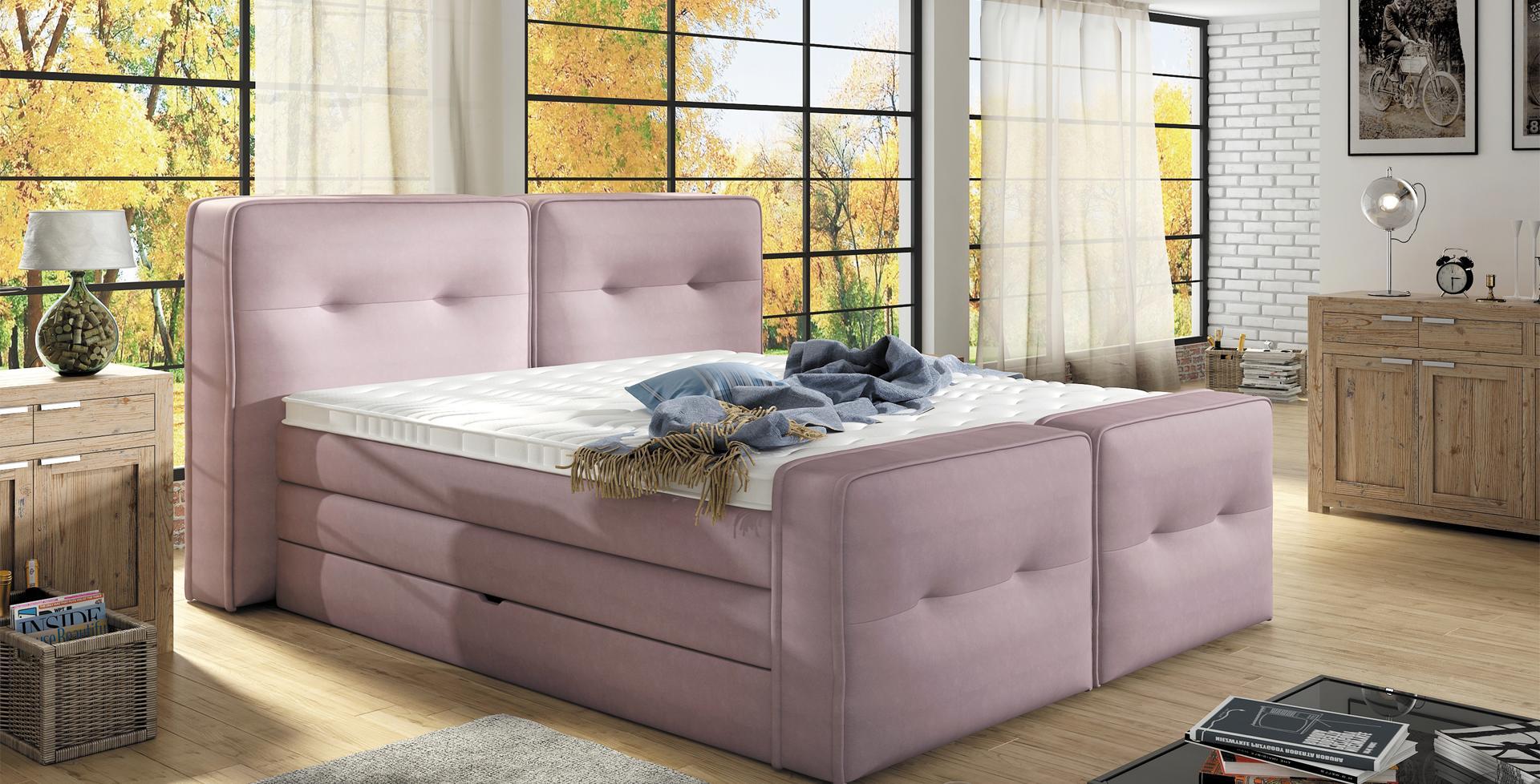 boxspringbett design bett topper federkern doppelbett polsterbett mit bettkasten falun xl www. Black Bedroom Furniture Sets. Home Design Ideas