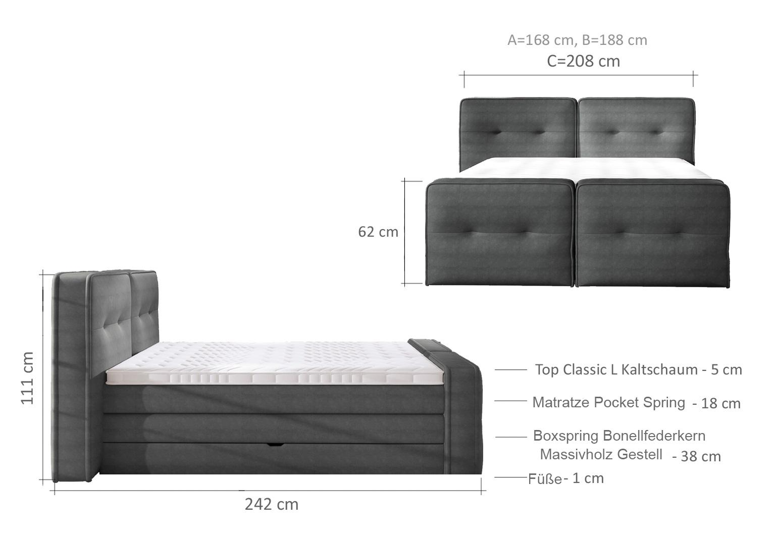 boxspringbett design bett topper federkern doppelbett polsterbett mit bettkasten falun xl www. Black Bedroom Furniture Sets. Home Design Ideas