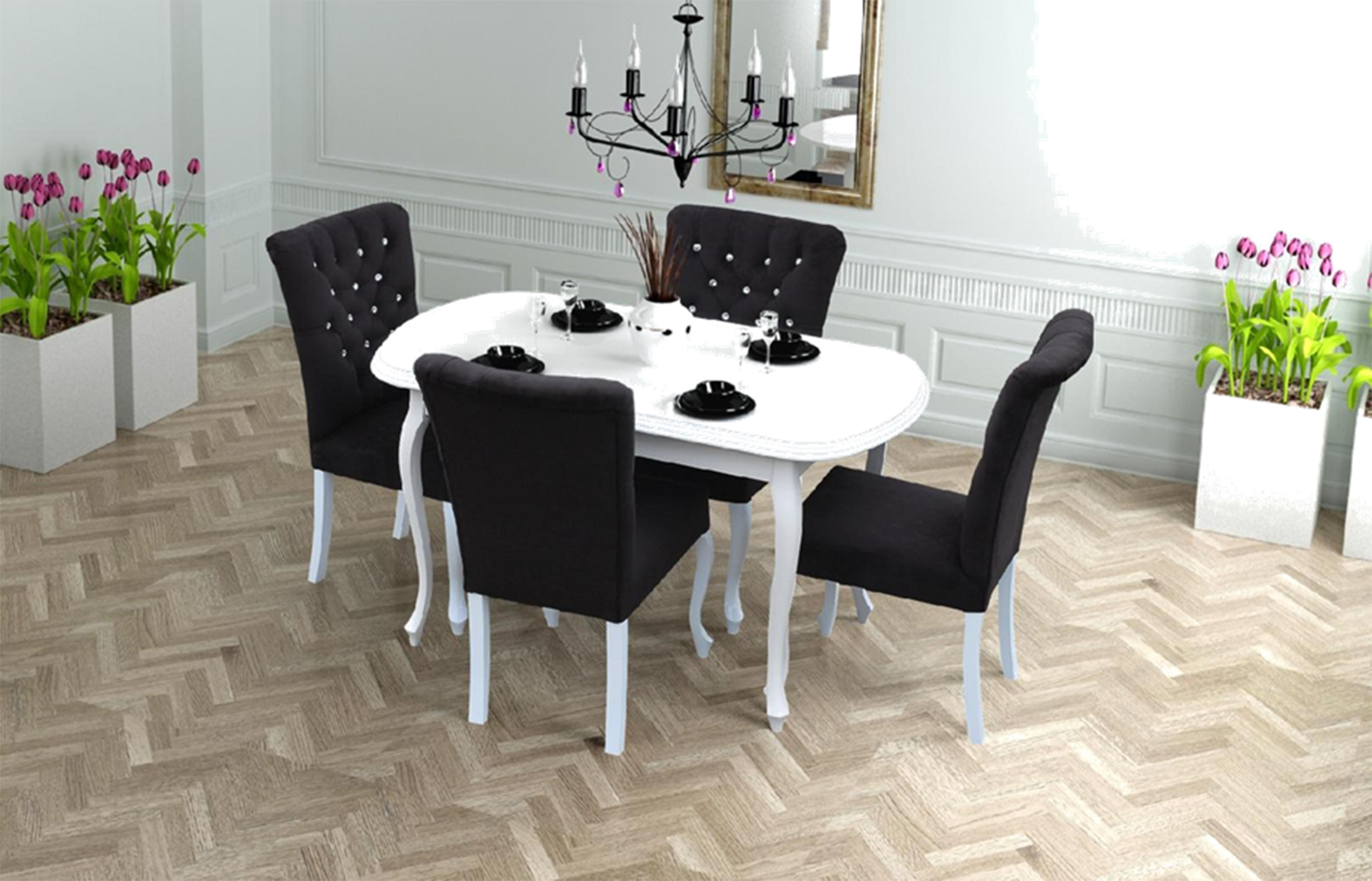 4x Chesterfield Stuhle Stuhl Set Polster Garnitur Kuchen Wohnzimmer