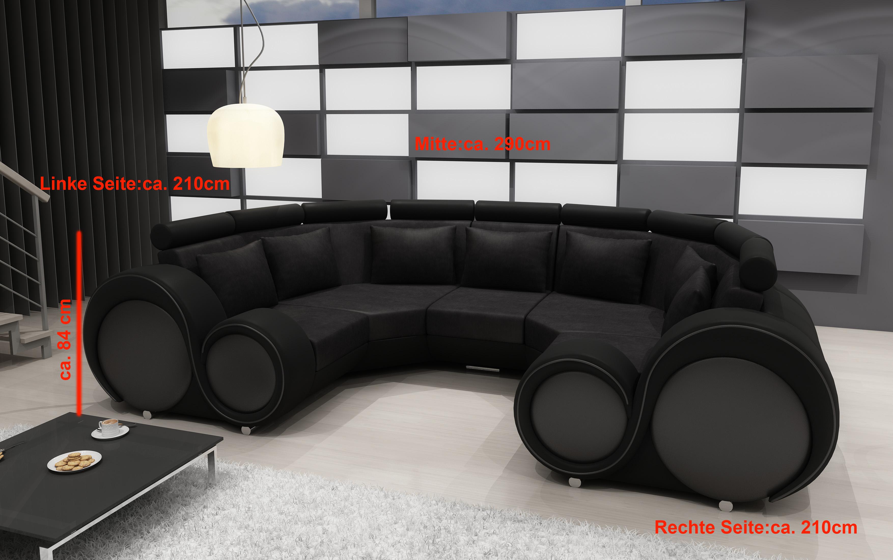 Wohnlandschaft Textil Couch Mikrofaser Polstergarnitur Xxl Neu