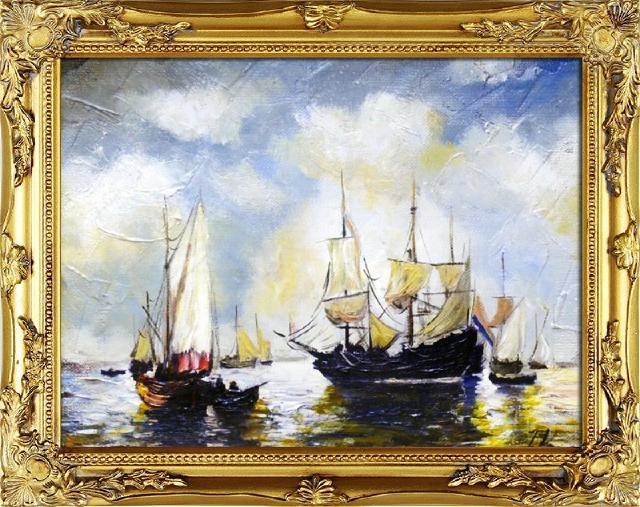 Gemälde Ölbild Bild Ölbilder Rahmen Bilder Seefahrt Meer Schiffe Ölgemälde 06417
