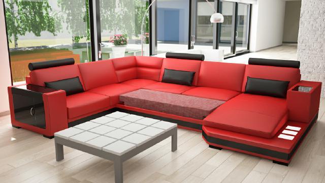 Wohnlandschaft Sofa Couch Leder Designer Polster Garnitur Ecke Leder